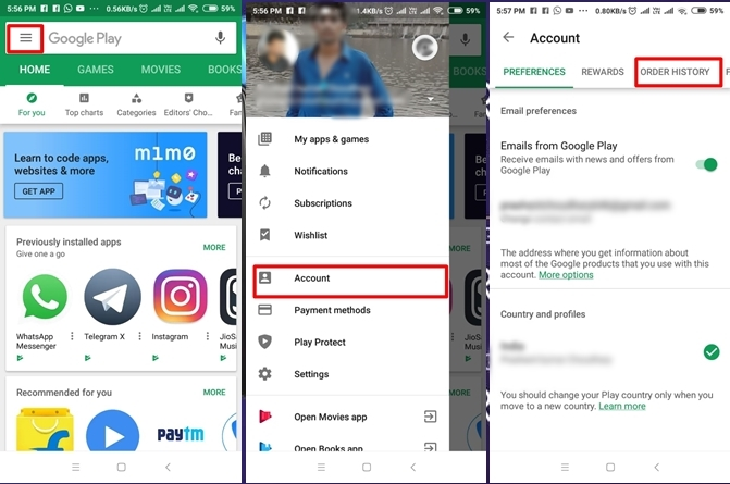 How to find Play Store purchase history of any Android phone