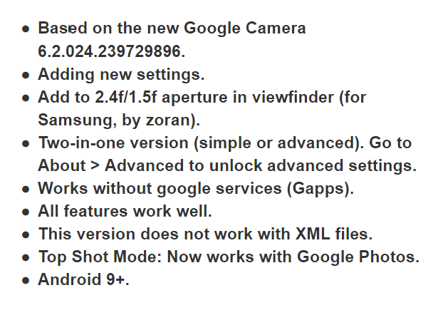 Download Google Camera 6.2 features